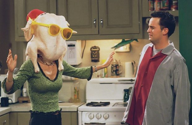 Chandler and a Turkey at Thanksgiving